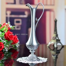 Free shipping selling hot  pewter plated metal flower vase for home decoration