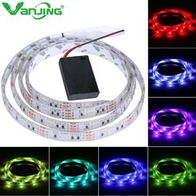 Battery Powered LED Strip 5050 SMD 2M 1M 30LEDS/M IP65 Waterproof LED Tape with Battery Box RGB/Cool White/Warm White Light