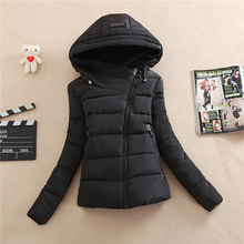 2017 new women winter jacket casual solid outerwear coat with hooded parka cotton-padded