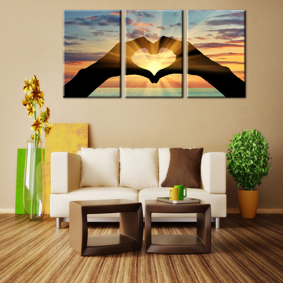 Ocean Hearts Modular pictures painting on the wall Modular wall paintings canvas painting oil painting(China (Mainland))