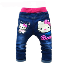 Kids Girls Jeans Hello Kitty Pants Cashmere Elastic Waist Girl Legging Trousers Autumn Children Denim Pants