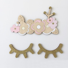 1pair Cartoon 3D Wooden Cute Eyelash Closed Eye Decorative Wall Stickers for Kids Rooms Decoration Accessories DIY Wall Decal