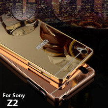 Buy Z2 Case Sony Xperia Z2 L50w Cases Bumper Golden plating Aluminum Frame + Mirror Acrylic Back Cover Z2Case L50u SonyZ2 for $4.74 in AliExpress store