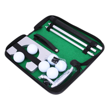 New Portable Travel Indoor Golf Putting Practice Kit 6 Pcs Ball Putter Training Set Golf Tranning Aids Tool with Carry Case