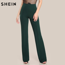 SHEIN High Rise Piped Dress Pants Army Green Elegant Pants Women Work Wear High Waist Zipper Fly Boot Cut Trousers(China)