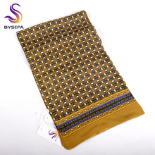 [BYSIFA] Winter Gold Yellow Men Scarves Cravat Fashion Men Business Scarves Neck Scarf Spring Autumn Winter New Plaid Silk Scarf(China)
