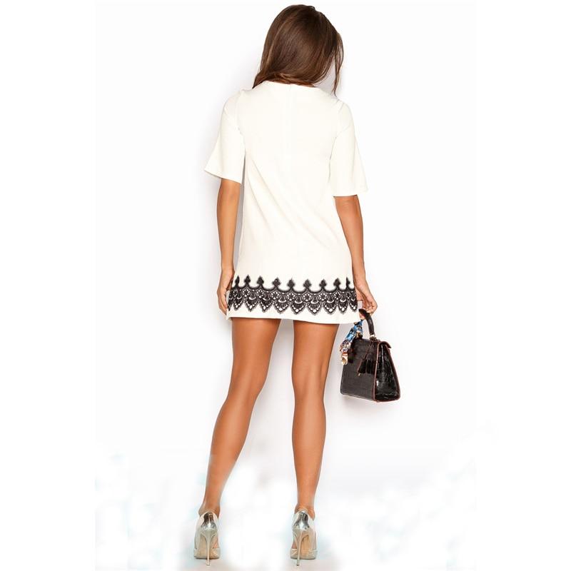 Summer Dress 2018 Women Fashion Casual Mini Lace Dress Black White Short Sleeve O-Neck Beach T Shirt Dresses Plus Size 7