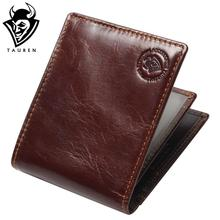 New RFID BLOCKING Genuine Leather Men's Wallets Male Bifold Purse Small Dollar Wallet Cowhide Bifold Purse Card Holders(China)