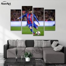 4 Pieces Picture Painting Soccer Player Football Picture Frames Home Decoration for Bedroom Wall Art Canvas Print Ready to Hang