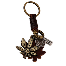 10PCS Vintage Bronze Leaves Keychain Bag Keyfobs Key Finder Charm Car Key Chain Ring Holder Novelty Jewelry Souvenirs Gift FY025
