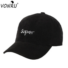 Top Quality Solid Corduroy Baseball Cap SUPER Letter Embroidery Cotton Snapback Hats Casual Hats for Men Women Casquette