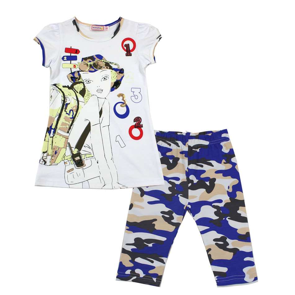 2017 fashion summer children clothing brand girls outfits sets short sleeve print shirts cotton camo pant clothes suits<br><br>Aliexpress
