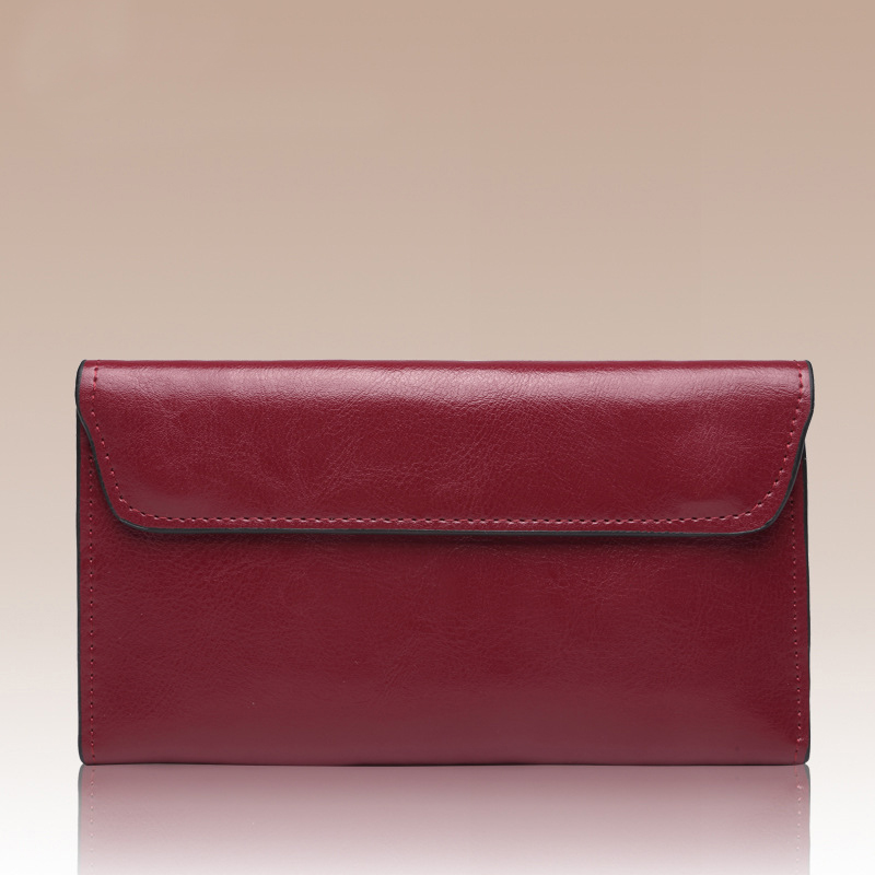 New Genuine Leather Long Wallet Women Real Leather Card Holder Coin Purse 2017 Sexy Lady Leather Clutch Bag<br>