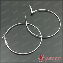 Wholesale Diameter 50mm Wire Thickness 1.5mm Imitation Rhodium / Silver / Gold color Round Iron Hoop Earrings 20 pieces(JM4951)