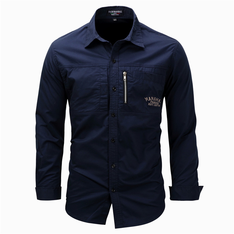 Fredd Marshall Fashion Men's Shirts Spring Cotton Solid Color Long Sleeve Male Shirt with Zipper Pockets Camisa Masculina Plus Size (3)