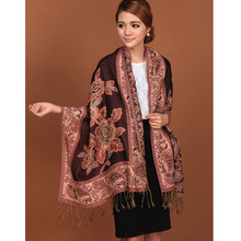 Black Hot Sale Fashion Double Faces Fancy Paisley Women's Pashmina Shawl/Scarf Wrap Peony Free Shipping RH-1(China)