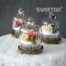 Set of 3pcs Simulation Cupcake with Artificial Flower Decoration in Container Set, Birthday/New Year Gift/Valentine's Day gift