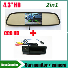 car trunk handle parking rear camera for BMW 1 3 5 E60 E61 E70 E71 E72 E82 E84 E88 E90 E91 E92 E93 X1 X5 X6 + 4.3'' Car monitor(China)