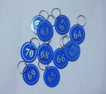Free shipping 100 pcs/lot Garment Tags Key ID Labels number key Tag Cards with Digital tag key ring One to One Hundred