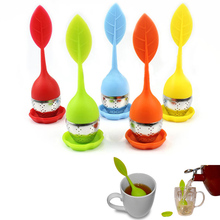 1 pc Food-grade Silicone & Stainless Steel Leaf Tea Leaf Strainer Herbal Spice Infuser Tea Filter