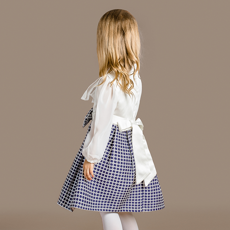 2017 Fashion Sleeveless flower Dresses Baby Girls Autumn Princess Birthday Clothing Blue White Plaid toddler Dress<br><br>Aliexpress