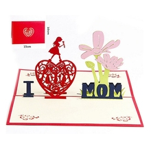 3D Greeting Card Pop Up Paper Cut Postcard Birthday Mother's Day Party Gift -W210
