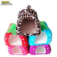 CANDY KENNEL Foldable Cat Dog Kennel Warm Cushion Strawberry Shape Sponge Pet House Dog Nest D0014
