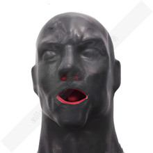 Buy Male 1mm 3D latex human hood mask closed eyes fetish hood red mouth sheath tongue nose tube RLM169