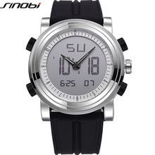 New SINOBI brand Sports Chronograph Men's Wrist Watches Digital Quartz double Movement Waterproof Diving Watchband Males Clock