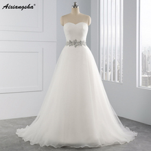 Hot Sale White Vestido De Noiva 2017 New Design A line Perfect Belt Robe De Mariage Strapless Lace Up Wedding Dresses(China)
