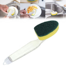 New Soap Dispenser Scrubber Cleaner Wand Brush Scrub Refill Washing Kitchen Tool