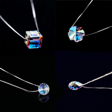 Simple 925 Sterling Silver Swarovski Crystal Cube Necklace Clover flower Necklaces & Pendants for Women collares Christmas gift(China)