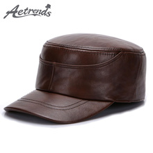 [AETRENDS] 2017 New Winter Dad Hat 100% Genuine Leather Military Hats for Men Flat Cap Captain Army Sailor Caps Z-5492()