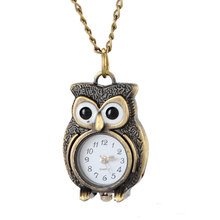 Fashion Retro Unisex Vintage Owl Pendant Antique Necklace steampunk Pocket Watches Gift High Quality Pendant Quartz Watch Clock