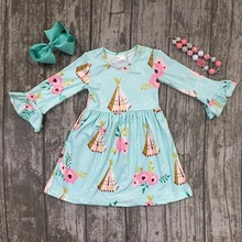 new spring baby girls milk silk soft cotton mint tent camper floral dress ruffle children clothes boutique match accessories kid(China)