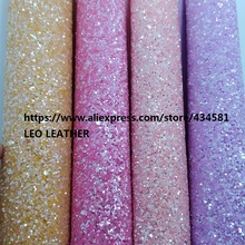Fluo Chunky Glitter Leather Fabric Synthetic Leather for DIY Bows, Shoes, handbags P1649(China)