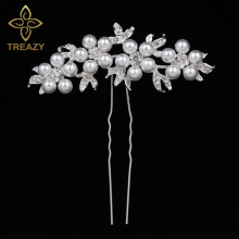 TREAZY Bridal Wedding Crystal Imiated Pearl Flower Hair Pins Elegant Headpiece Bridesmaid Bridal Veil Jewelry Hair Accessories