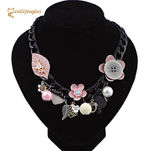 MEIDIJINGBEI 2017 summer women's popular new necklace hand-woven button flower necklace a generation to buy(China)