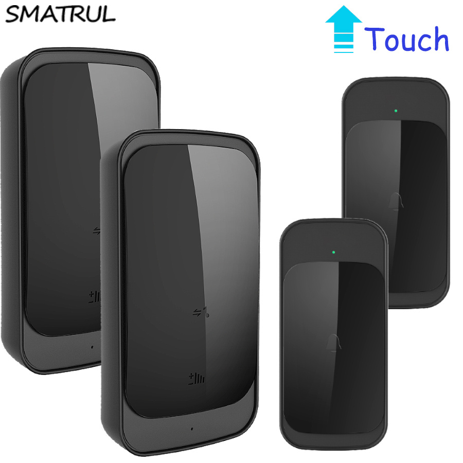 SMATRUL touch Waterproof Wireless Doorbell EU US Plug 280M long range smart Door Bell ring with batttery 2 button 2 receiver<br>