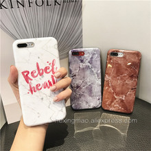 Personality Marble Letter Phone Case for IPhone 6 6s 7 7Plus Case Silicone Smooth Soft IMD Gray Brown Phone Case Back Cover Capa