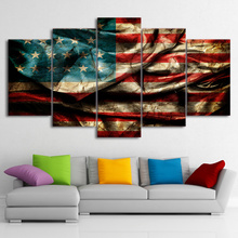 Wall Art Poster Modern Home Decor Living Room Bedroom 5 Pieces Retro American Flag Canvas Print Painting Modular Pictures Frame(China)