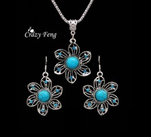 Popular free shipping promotion well quality silver-color earrings and necklace summer jewelry set for women wedding party(China)