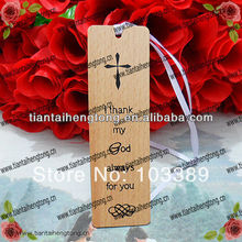 6pcs/pack free shipping cheap promotional gift beech wood bible religious bookmark with silk printing