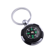 Outdoor&Sport 1PC Outdoor Portable Alloy Silver Tire Compass Keychain Ring Chain Gift(China)