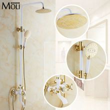 Luxury gold rain shower set wall mount golden white paint bath and shower faucet with hand shower bathroom mixe craner