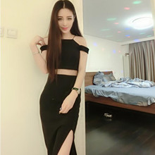 B1152 Club 2017 summer new women sexy off-the-shoulder cultivate one's morality show thin split dress condole(China)