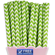 200pcs Lime Green Chevron Printed St. Patricks Day Paper Straws,Wedding, Party, Birthday, Decoration - Eco Friendly