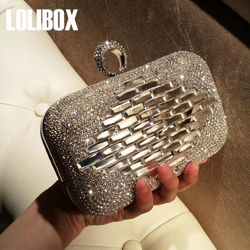 LOLIBOX Women Evening Bag Diamond Handmade Drill Handbag Clutch Bags Women Mini Bag Dress Party Girls<br>