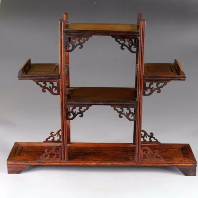 Display shelf stand China red wood carved 1 set 3PC rosewood small wooden base