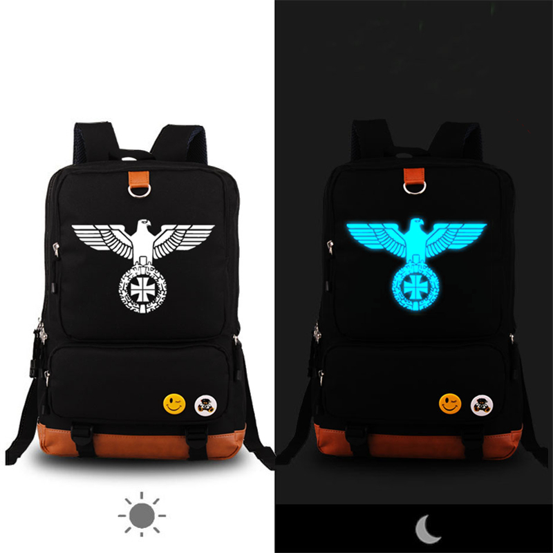 High Quality German Army Military Iron Cross Eagle Printing Backpack Boy London Fashion Backpack School Bags for Teenagers<br>